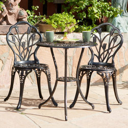 Christopher Knight Home - Christopher Knight Home Nassau Cast Aluminum Outdoor Bistro Furniture Set - Escape to relaxation and fantasy with this outdoor bistro furniture set. This set of outdoor furniture features sculpted tulips and sturdy design.