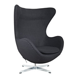 Modern Black fabric lounge Chair inspired by Arne Jacobsen Egg chair design - Modern Black fabric lounge Chair inspired by Arne Jacobsen Egg chair design provides evidence of movement in design to adapt more organic forms into our living spaces. Black fabric Lounge Chair in Black is designed to remind us of the natural world. This chair provides sheer comfort and relaxation. Get back to nature with the Glove Chair.