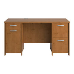 """Bush - Envoy Double Pedestal Desk in Natural Cherry Finish - Launch your Envoy Collection office suite with the 57"""" Double Pedestal Desk. Featuring two full-extension file drawers and two supplies drawers, the desk offers an integrated 4-port USB hub plus wire management features. Construction features include a durable melamine work surface and grooved edge banding to resist nicks and scratches. Highly configurable, add other Envoy Collection pieces as your needs change. Six-year limited manufacturer's warranty.; Durable thermally-fused laminate work surfaces; Grooved edge banding resists dents; Finished approach side allows placement in the middle of a room; Integrated 4port USB hub; CableQues underneath desk keep wires organized; Two integrated full-extension file drawers and one -+extension box drawer with ball-bearing slides; Closed storage compartment provides additional room for supplies; Stylish profiled edge detail on uprights; Dimensions: 57.99""""W x 23.19""""D x 30.2""""H"""