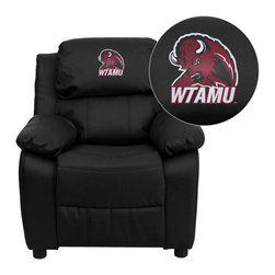 "Flash Furniture - West Texas A&M University Buffaloes Black Leather Kids Recliner with Storage Arm - Get young kids in the college spirit with this embroidered college recliner. Kids will now be able to enjoy the comfort that adults experience with a comfortable recliner that was made just for them! This chair features a strong wood frame with soft foam and then enveloped in durable leather upholstery for your active child. This petite sized recliner features storage arms so kids can store items away and retrieve at their convenience. West Texas A&M University Embroidered Kids Recliner; Embroidered Applique on Headrest; Overstuffed Padding for Comfort; Easy to Clean Upholstery with Damp Cloth; Flip-Up Storage Arms; Storage Arm Size: 3.25""W x 6""D x 11""H; Solid Hardwood Frame; Raised Black Plastic Feet; Intended use for Children Ages 3-9; 90 lb. Weight Limit; Black LeatherSoft Upholstery; LeatherSoft is leather and polyurethane for added Softness and Durability; CA117 Fire Retardant Foam; Safety Feature: Will not recline unless child is in seated position and pulls ottoman 1"" out and then reclines; Overall dimensions: 25""W x 26"" - 39""D x 28""H"