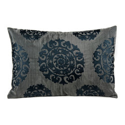"Silk Suzani Lumbar Pillow, Midnight Gray - The kaleidoscopic Suzani Pillow is a beautiful addition to any living space. Suzani in Persian means ""needle work"" and the silk based rectangular Suzani features intricate silk embroidery."