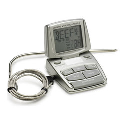Bradley Smokers - Digital Meat Thermometer - Safely cook foods to the right temperature with this digital meat thermometer. With a durable stainless steel probe and programmable unit,you can conveniently customize the settings for each meat and cooking preference. Just add batteries to operate.