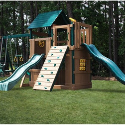 Kidwise - Kidwise Congo Safari Lookout and Climber Play System - Green/Cedar - KW-CG-SAF-L - Shop for Swings Slides and Gyms from Hayneedle.com! Active playtime for your child is a no-brainer with the Kidwise Congo Safari Lookout and Climber Play System Green/Cedar! A variety of features will keep them entertained for hours. A rock wall features twelve composite rocks to climb on. The large tic-tac-toe game keeps young brains sharp. The glider swing encourages playing nicely with others. Two wave slides provide fun whimsical ways to come out of the fort.This set is made with WoodGuard Polymer-coated solid lumber which is both durable and eco-friendly. Premium Western timber is treated with borates and then coated with polymer made from recycled plastics. The wood doesn't require staining sanding or refinishing. It meets or exceeds standards of safety and construction.About Kidwise ProductsThis item is made by Kidwise Outdoors a company whose focus is safe fun excitement for kids. Kidwise strives to promote safe play for kids of all ages through outside activities. Their line of products includes swingsets trampolines inflatable bouncers bikes sport goals and many other items to choose from. Kidwise guarantees all of their products against defects. Like Hayneedle their goal is 100% satisfaction from customers. Their product lines focus on kid-friendly items that are fun to play with and stimulate balance and a healthy lifestyle for kids.
