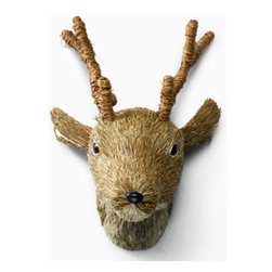 Brown Sisal Deer Head - Here's another ornament that could easily be made into a tree topper. This brown sisal deer head has a styrofoam base that could be modified to sit on top of a tree.
