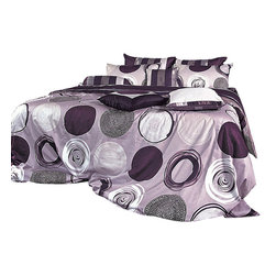 Blooming Home Decor - Purple Gray Circle & Stripe Pattern Sheet Set, Queen - This sheet set is 100% cotton with 820 thread count, wrapping you in luxurious fabric and design. With a stunning variety of purple hues, this sheet ensemble is fit for a princess, with white and black accents finishing off the artistic design. The fitted sheet & sham covers feature a purplish gray striped pattern, allowing you to have fancy or classic looking bedding in one simple package.