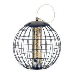 Gardman USA - Cage Peanut Feeder - Squirrel Proof Cage Peanut Feeder - Squirrel's weight lowers a protective sleeve which covers feed.   Feeder has two ports and two perches.   Manufactured from stainless steel and aluminum.   Squirrel's sharp teeth do not stand a chance.   Simple yet very