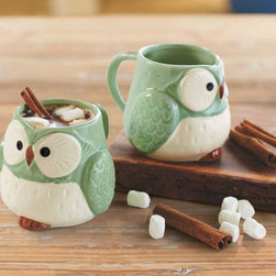 """Viva Terra - Mint Green Owl Mugs (set of 2) - This set of two ceramic mugs proves that getting started inthe morning can be a hoot in the right company. 4.5""""L x 3.5""""W x 3.5""""H"""