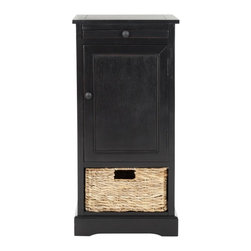 Safavieh - Chloe Storage Unit - Relaxed and casual, the Chloe storage unit in pine with distressed black finish has an easygoing appeal that's perfect for a country casual style. With a roomy cabinet and one pull out woven basket, Chloe makes stashing remotes, CDs and magazines a breeze.