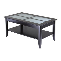 Winsome - Winsome Syrah Solid Wood Glass Top Rectangular Coffee Table in Espresso - Winsome - Coffee Tables - 92140 - High end design and solid wood construction at an affordable price!