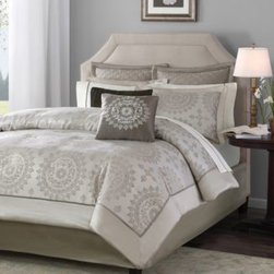 E & E Co., Ltd. - Tiburon 12-Piece Bedding Set - This set features a classic medallion motif woven in a rich shade of taupe with an ivory base, helping to create a soft and welcoming retreat in any bedroom. The comforter reverses to a soft sand color.