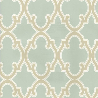 Moroccan Trellis Wallpaper - This Moroccan trellis pattern looks sleek and serene in robin's egg blue and beige. Find it at AmericanBlinds.com.