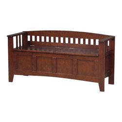 Linon - Linon Storage Bench Short Split Seat Storage in Walnut - Linon - Living Room Benches - 85001WALZ01KDU - Create added seating and storage to your foyer or mudroom with this attractive and functional Split Seat r Storage Bench.  The bench features a split seat allowing the user to rest on one side of the bench while retrieving articles from the storage compartment on the opposite side.  The slat designed low back and sides are enhanced by the warm walnut finish.