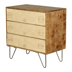 Industrial Mango Wood & Iron File Cabinet 3-Drawer Dresser - Who says you shouldn't bring your work home, how about putting a little bit of home into your work with our Industrial Three Drawer Dresser. Each drawer features an iron drawer front complete with swinging handles and ID placard. The handmade chest of drawers is lifted off the ground on bent wire legs. Each drawer is set on a metal track.