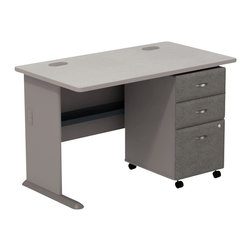 "Bush - Bush Series A 48"" Computer Desk with 3-Drawer File Cabinet in Pewter - Bush - Office Sets - SMA001PESU - Build your custom office one desk at a time. Bush Series A Pewter Finish 48"""" Desk with 3-Drawer File  match and fit beautifully with other pieces from the Series A collection. Four-foot width is compact yet offers plenty of working space. Two wire management ports keep cords and cables controlled. Under desk shelf provides a place for such small electronic items as routers and more. Versatile 3-Drawer File puts the benefits of mobile storage at your fingertips. Goes to work anywhere and fits under all Series A desks. Box/box/file configuration lets you store office supplies and letter- legal- or A4-size files. One lock secures file drawer for security. Full-extension ball bearing slides allow easy convenient access to back of drawers.  Stylish elliptical drawer pulls add panache.  Includes Bush Furniture10-year warranty."