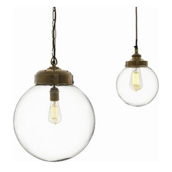 Arteriors - Reeves Large Pendant, Brass - Add a vintage vibe to your favorite contemporary setting. This striking fixture tops a clear, handblown glass orb with antique brass hardware — consider an old-school filament bulb to complete the effect and impart a subtle glow.