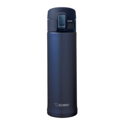 Zojirushi - Zojirushi SM-KHE48 16-Ounce Stainless Steel Vacuum Mug - Smoky Blue - The Stainless Mug keeps beverages hot or cold for hours with its high quality vacuum insulation and a tight fitted flip-open lid. Its SlickSteel finish interior is corrosion resistant and repels stains.