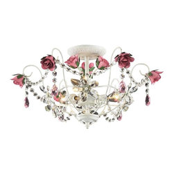 Elk Lighting - Elk Lighting 4052/3 Rosavita Traditional Semi Flush Mount Ceiling Light - Elk Lighting 4052/3 Rosavita Traditional Semi Flush Mount Ceiling Light in Antique White
