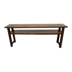 "Used 19th c. Antique Chinese Walnut Altar Table - This is an incredible antique table with such a contemporary look! It is a walnut altar table from the Hunan region of China, dating circa 1860.    Thick old growth planks and mortise and tenon construction, this table has authentic character with splits, worn areas, discolorations, but it still insanely sturdy and absolutely solid. The finish is extremely smooth, likely a contemporary coat of some sort of clear satin (not high gloss) finish.     This table would be excellent for a TV console, entryway, hallway, sofa table, just a gorgeous character piece.     Dimensions:   76"" x 14"" deep x 31.5"" height    This piece was purchased from Charles Jacobsen at the Pacific Design Center in Los Angeles, who provided the historical information."
