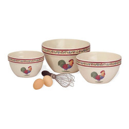 "Renovators Supply - Bowls Stoneware Kitchen Bowls 7"" 8 1/4"" 9 1/2'' Dia SET of 3 - Country Kitchen Bowls set of 3. Lovely ceramic mixing bowls with a morning rooster on each. This set of Bowls, includes three ceramic bowls small 7 inch, medium 8 1/4 inch, and large 9 1/2 inch diameter."