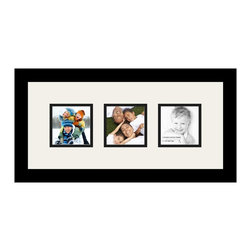 ArtToFrames - ArtToFrames Collage Photo Frame  with 3 - 4x4 Openings - This classic Satin Black, 1.25 inch thick collage frame, features a multiple opening display for 3 - 4x4 snapshots of your choice. This collage is part of an extensive collage frame selection and boasts a vast line of durable frames at a price you can smile about! Handcrafted and designed to outfit your snapshots making sure you 3 - 4x4 art will fit just right. Bordered in a vivid prominent Satin Black, high-end frame and joined by a clean Super White mat, the collage arrangement absolutely highlights your very own prized artwork, and beloved memories in an entirely interesting and fun way. This collage frame comes protected in Regular Glass, equipped with appropriate hardware and can be hung up with ease. These premium quality and genuine wood-based collage frames change in style and size; all in contemporary and modern design. Mats are available in a myriad of color tones, spaces, and shapes. It's time to tell your story! Preserving your memories in an original and imaginative new way has never been easier.
