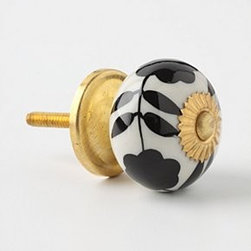 Anthropologie - Silhouetted Zinnia Knob - *Tighten with care