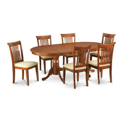 """East West Furniture - 7Pc Plainville Table with Double Pedestal and 6 Portland Padded Seat Chairs - 7Pc Plainville Table with Double Pedestal and 6 Portland Padded Seat Chairs In Saddle Brown Color Finish; The Plainville dining room dinette set features a beautiful finish with a country casual feel.; Combining the easy care of a smooth wood table top with vintage-styled legs for a one of a kind look.; The sleek oval table top, which expands to 78"""", provides ample room at this dinette table & chairs for both family and guests.; Chairs are available upholstered in contrasting light fabric; Chair backs have vertical slats with scrolled tops, completing the stylish looks .; Weight: 195 lbs; Dimensions: Table: 60-78""""L x 42""""W x 30""""H; Chair: 18""""L x 17""""W x 38.5""""H"""
