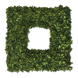 Uttermost - Uttermost Square Wreath Preserved Boxwood 60109 - Preserved while�freshly�picked, natural evergreen foliage looks and feels like living boxwood.