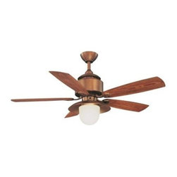 Hampton Bay - Outdoor Fan: Hampton Bay Copperhead 52 in. Indoor/Outdoor Weathered Copper Ceili - Shop for Lighting & Fans at The Home Depot. The Hampton Bay Copperhead 52 in. Indoor/Outdoor Weathered Copper Ceiling Fan features 5 weather-resistant ABS plastic blades in teak finish and a wet-rated housing to allow for outdoor use. This unit has a hood-style light kit with opal frosted glass and uses a single 13-watt CFL light bulb which is included. A wall control is also included. This UL-listed fan attracts attention and will bring to life any outdoor setting.
