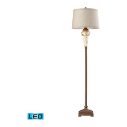 Dimond Lighting - Dimond Lighting Lorraine Distressed Pearlescent Ceramic Floor Lamp- LED Offering - Distressed Pearlescent Ceramic Floor Lamp- LED Offering Up To 800 Lumens belongs to Lorraine Collection by Dimond Lighting Lamp (1)
