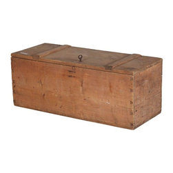 Used Primitive Swedish Wooden Trunk - A circa 1850 primitive pine trunk from northern Sweden. The trunk has a working lock and key. This trunk would be great for storing extra bedding or clutter in a living room. Its rustic presence will add texture and character to any space.