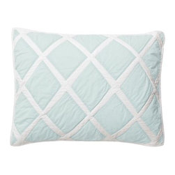 Serena & Lily - Aqua Diamond Quilt Standard Sham - Featuring the same hand-appliqued diamonds as the quilt, the matching standard sham adds the perfect finish to the bed. Aqua diamonds appliqued on white; solid white on reverse.