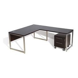 Jesper Office | 9000 Collection Desk With Return & Mobile Pedestal -