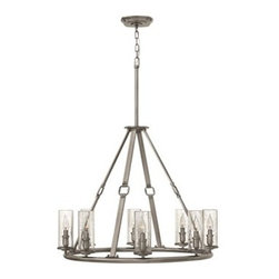 Hinkley Lighting - Hinkley Dakota Polished Antique Nickel Eight-Light 31.5 Wide Chandelier - The Dakota collection rounds up the best in Western style with a rustic chic design. Cast metal faux leather straps and buckle combine with clear seedy hurricane shades perched on cast cups for luxe lodge charm.Under four generations of family leadership Hinkley Lighting has transformed from a small outdoor lantern company to a global brand intent on bringing you the best in style quality and value. LIFE AGLOW: That's their mantra and they take it seriously. By welcoming their products into your home they become part of your family's everyday life illuminating small moments and big occasions. They understand your home is so much more than a physical place. It's an emotional space designed by you so they are committed to keeping your 'Life Aglow' with stylish state-of-the-art lighting. Their products are the ultimate combination of style and substance. They are constantly developing new technologies to make their fixtures even more energy efficient. Hinkley recently upgraded their LED to cutting-edge high lumen output integrated solutions and they give you hundreds of energy-efficient styles to choose from. Even their Cleveland-based world headquarters employs high energy saving standards with low VOC materials and a variety of eco-smart applications into the design to make an earth-friendly work environment for their Hinkley family. Hand crafted fixtures luxe finishes artistic details and quality materials go into the design of every product they make. They embrace the philosophy that you can merge together the lighting furniture art and accessories you love into a beautiful environment that defines your own personal style.
