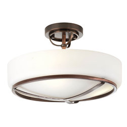 Progress Lighting - Progress Lighting P3978-124 2-Light Semi-Flush with Opal Etched Glass Bowl - Progress Lighting P3978-124 2-Light Semi-Flush with Opal Etched Glass Bowl