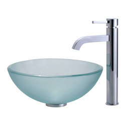 "Kraus - Kraus C-GV-101FR-14-12mm-1007CH Frosted 14"" Glass Vessel Sink and Ramus Faucet - Add a touch of elegance to your bathroom with a glass sink combo from Kraus"