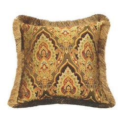 "Canaan - Formosa Alcazar Reverse To Stripe Pattern Print 20"" x 20"" Throw Pillow - Formosa alcazar reverse to stripe pattern print 20"" x 20"" throw pillow with brush fringe trim. Measures 20"" x 20"" made with a blown in foam. These are custom made in the U.S.A and take 4-6 weeks lead time for production."