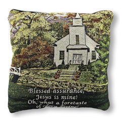 Manual - Hazels Church Woven Tapestry Throw Pillow 17 In. - This woven tapestry throw pillow depicts a quaint country church, Hazel's church, among picturesque scenery with a Fanny Crosby verse across the bottom that reads, 'Blessed assurance, Jesus is mine Oh, what a foretaste of glory divine' The front is made of a cotton/polyester blend, the backing is cotton, and the soft stuffing is polyester. The pillow measures 17 inches by 17 inches, and care instructions are to spot clean, only. It adds a charming and inspirational accent to any room, and it makes a lovely gift for friends and family. Made in the U.S.A.