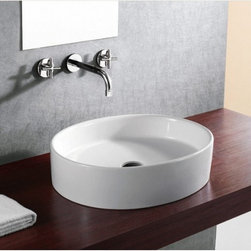 """None - 21.75"""" European Style Oval Shape Porcelain Ceramic Bathroom Vessel Sink - Compatible with most wall-mount or countertop-mount vessel filler faucets. Aside from being functional,this sink is also an elegant looking and great a conversational piece."""