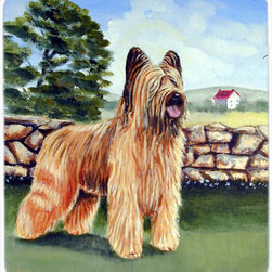 Caroline's Treasures - Briard By The Stone Fence Mouse Pad, Hot Pad Or Trivet - Mouse Pad, hot pad or trivet ... Long lasting polyester surface provides optimal tracking. Sure-grip rubber back. Permanently dyed designs. 7 3/4 inches x 9 1/4 inches. Heat Resistant up to 400 degrees. Let something from the oven rest on the stove before placing it on the mouse pad as it will scorch the fabric on the top of the pad. Use as a large coaster for multiple drinks or a pitcher.