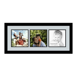 ArtToFrames - ArtToFrames Collage Photo Frame  with 3 - 7.25x7.25 Openings - This modern Satin Black, 1.25 inch thick collage frame, comes equipped with a multiple opening display for 3 - 7.25x7.25 artwork of your choice. This collage is part of a selection collage frame collection and boasts a vast line of premium quality frames at a low-cost you can gloat about! Handcrafted and developed to outfit your artwork ensuring you 3 - 7.25x7.25 art will fit right in. Bordered in a bold Satin Black, sleek frame and surrounded by a contemporary Baby Blue mat, the collage arrangement most definitely shows off your very own prized artwork, and best memories in an entirely special and fun way. This collage frame comes protected in Styrene, ready with appropriate hardware and can be displayed in the blink of an eye. These superior quality and authentic wood-based collage frames differ in design and size specifics; all in contemporary and modern design. Mats are available in a bevy of color tones, openings, and shapes. It's time to tell your story! Preserving your displaying your memories in an original and imaginative fresh way has never been easier.