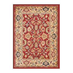 """Safavieh - Teodora Rug, Red / Creme 2'6"""" X 4' - Construction Method: Power Loomed. Country of Origin: Turkey. Care Instructions: Vacuum Regularly To Prevent Dust And Crumbs From Settling Into The Roots Of The Fibers. Avoid Direct And Continuous Exposure To Sunlight. Use Rug Protectors Under The Legs Of Heavy Furniture To Avoid Flattening Piles. Do Not Pull Loose Ends; Clip Them With Scissors To Remove. Turn Carpet Occasionally To Equalize Wear. Remove Spills Immediately. The dramatic patterns of heirloom Serape, Sultanabad and Oushak rugs are recreated for 21st century lifestyles in the Austin Collection. Power-loomed of long-wearing, easy-care polypropylene, each rug stands up to heavy traffic while adding timeless beauty to entry hall, living room, kitchen and more."""