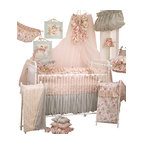 Cotton Tale Designs - Tea Party 8pc Crib Bedding Set - Tea Party 8 pc crib bedding collection by Cotton Tale Designs is a beautiful combination of soft vintage florals and rose faux fur.