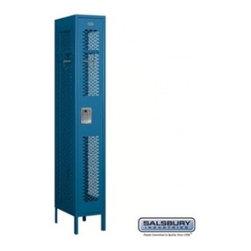 Salsbury Industries - Vented Metal Locker - Single Tier - 1 Wide - 6 Feet High - 18 Inches Deep - Blue - Vented Metal Locker - Single Tier - 1 Wide - 6 Feet High - 18 Inches Deep - Blue - Unassembled