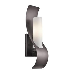 Kichler - Kichler 49149AZ Zolder 1 Light Halogen Outdoor Wall Sconce in Architectural Bron - This 1 light halogen outdoor wall fixture from the Zolder collection will make a bold impact. The classic Architectural Bronze finish, curved metal accents and Satin Etched Cased Opal Glass will effortlessly enhance any space.Single bulb outdoor wall sconces add a touch of elegance to any landscape Housing is constructed of metal - providing years of reliable performance Fully covered under Kichler's 1-year limited warranty Features cylinder shaped glass shade Pair this sconce with a variety of post lights from the Zolder Collection for a coordinated landscape Ultra secure mounting assemblyBulb Type: Incandescent Bulbs Included: Yes Collection: Zolder Country of Origin: China Energy Efficient: No Extends: 4-1 2 Finish: Architectural Bronze Height: 17 Light Direction: Ambient Lighting Number of Lights: 1 Shade Color: White Shade Material: Glass Shade Shape: Cylinder Shade Type: Etched Socket Type: Candelabra Style: Contemporary Wattage: 60 Weight: 2.33 Width: 4-1 2