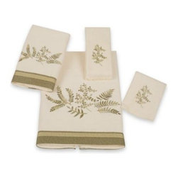 Avanti - Avanti Greenwood Bath Towel in Ivory - Foliage embroidery in shades of green are a lovely embellishment to these Avanti Greenwood Bath Towels. Finished off perfectly with a textured fabric band.