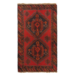 """Torabi Rugs - Hand-knotted Rizbaft Brown, Red Wool Rug 3'9"""" x 6'5"""" - Rizbaft rugs are hand woven tribal rugs from Eastern Afghanistan. These are primarily woven by Pashtun and Baluch nomad artisans. Hand made from 100% natural wool, in floral and all over pattern designs with very dense weave.  Durable, they mostly come in smaller sizes. The Balouch people also weave saddlebags, salt bags, prayer rugs, which reflect their nomadic way of life."""