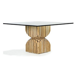 ecofirstart - Alder Kiss Dining Table - If you're feeling a little lost in the decorating woods, maybe it's time to go out on a limb. This unique table base is crafted from natural alder branches stacked and sculpted into an hourglass shape. It's the perfect side or lamp table as-is, or add a large glass top to create a dining table sure to keep your home fires burning.