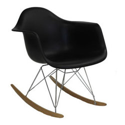 "LexMod - Rocker Lounge Chair in Black - Rocker Lounge Chair in Black - Not Grandma's rocking chair, this mid-century retro modern rocker, has the avant garde style of today that adds pizzazz to your room. Still a comfortable seat for lulling children to sleep or moving in time to music, this rocking chair is the symbol of the modern home. Set Includes: One - Molded Plastic Rocking Chair Chrome plated steel base, PP plastic seat, Solid wood rocker bottoms, Chair Weight Capacity - 286 lbs. Overall Product Dimensions: 27.5""L x 24.5""W x 26.5""H Seat Dimensions: 18.5""L x 16""W x 15.5""H Armrest Height: 23""H - Mid Century Modern Furniture."