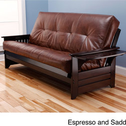 None - Ali Phonics Multi-Flex Espresso Wood Frame and Bonded Leather Innerspring Mattre - Sit, lounge or sleep on the Multi-Flex Frame Futon Set, highlighting a unique and versatile design that easily converts to a full-size bed. The bonded leather upholstery and espresso wood frame finish fit easily in most rooms.