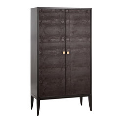Kathy Kuo Home - Elle Chocolate Crocodile Embossed Leather Wood Club Cabinet - This large chocolate leather cabinet brings the handsome, rugged luxury of a club lounge into your home. From the hints of glamour found in the plush orange fabric lining and glass shelving, and the masculine styling of crocodile embossed leather, this cabinet will define a room in your modern home as the place to relax with a good book, and an even better scotch, in hand.